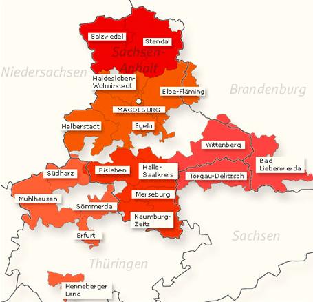 Karte des Zuständigkeitsgebietes der KSKK